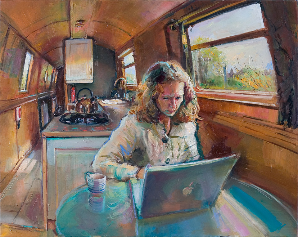 Oil-Painting-4-Karen-Working-in-the-Boat